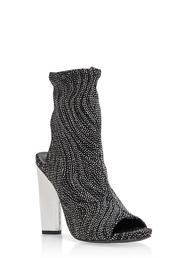 Open Toe Stretch Booties,BLACK GLITTER,large