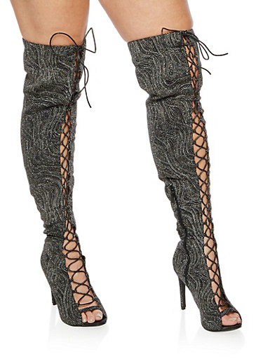 Lace Up Peep Toe Over the Knee Boots,BLACK GLITTER,large
