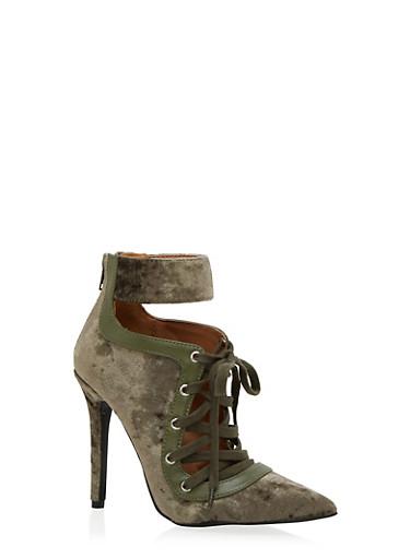 Pointy Lace Up Ankle Strap Velvet Heels,OLIVE,large