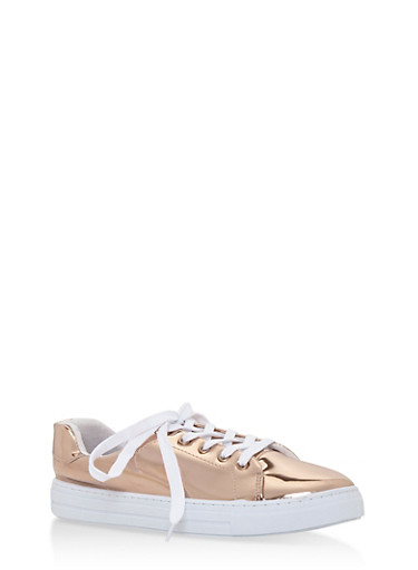 Lace Up Tennis Sneakers,ROSE GOLD SHINY,large