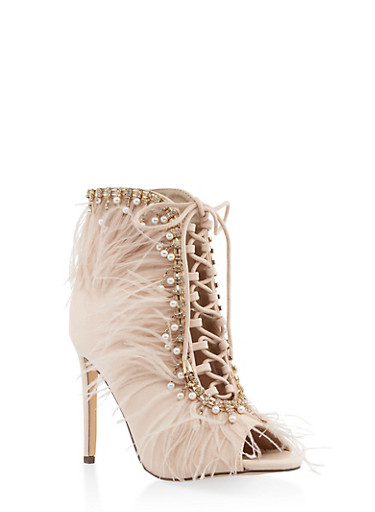 Feathered Lace Up Peep Toe Booties,BEIGE,large