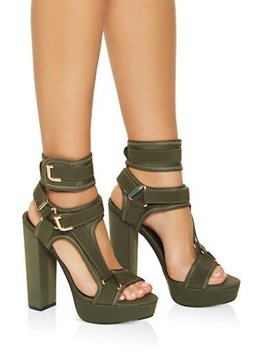 Neoprene Velcro Strap High Heel Sandals,OLIVE,large