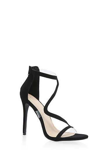 Wavy Strap High Heel Sandals,BLACK SUEDE,large