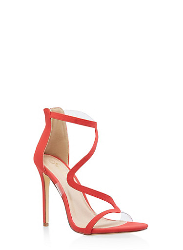 Wavy Strap High Heel Sandals,RED S,large