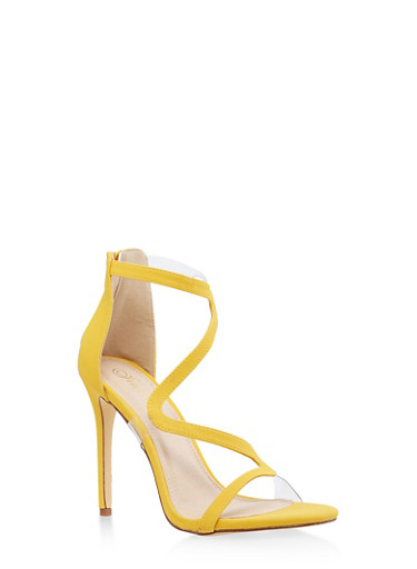 Wavy Strap High Heel Sandals,YELLOW S,large