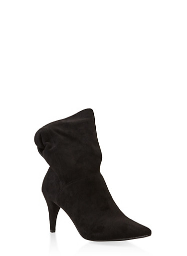 Tabbed Pointed Toe Heeled Booties,BLACK,large