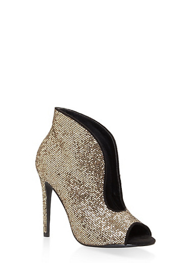 Glitter High Heel Cut Out Booties,GOLD,large