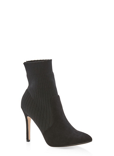 Knit Pointed Toe Booties,BLACK,large