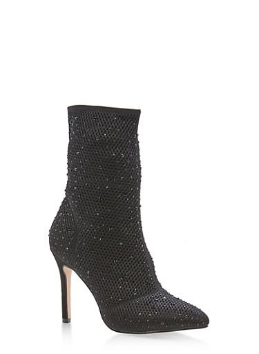 Rhinestone Mesh High Heel Booties,BLACK,large