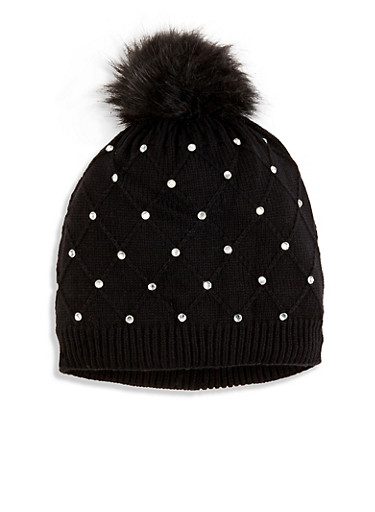 Studded Knit Pom Pom Beanie,BLACK,large