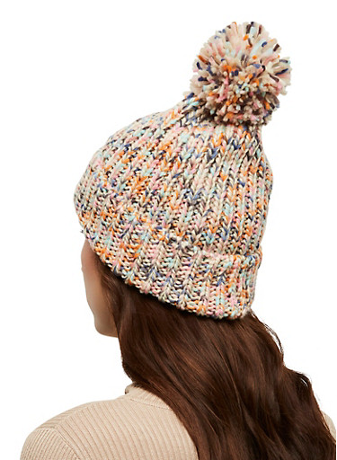 Multi Color Knit Pom Pom Beanie,PINK,large