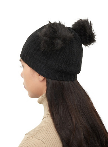 Double Pom Pom Ear Beanie,BLACK,large