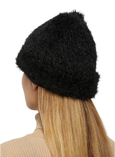 Brushed Knit Beanie,BLACK,large