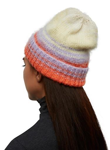 Striped Brushed Knit Beanie,ORANGE,large