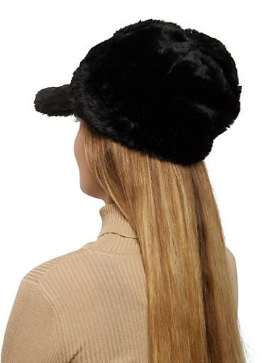 Faux Fur Newsboy Cap,BLACK,large