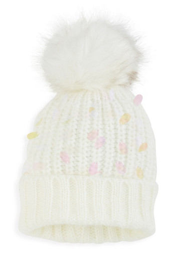 Iridescent Sequin Pom Pom Beanie,WHITE,large