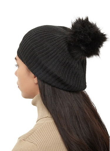 Pom Pom Knit Beanie,BLACK,large