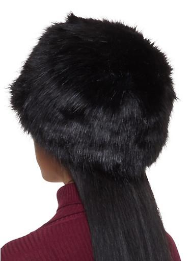 Faux Fur Hat,BLACK,large