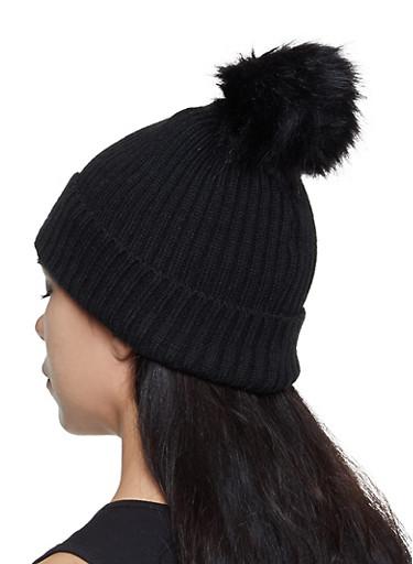 Rib Knit Pom Pom Beanie,BLACK,large