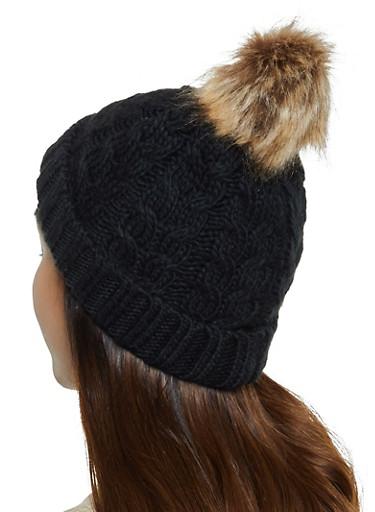 Pom Pom Cable Knit Beanie,BLACK,large