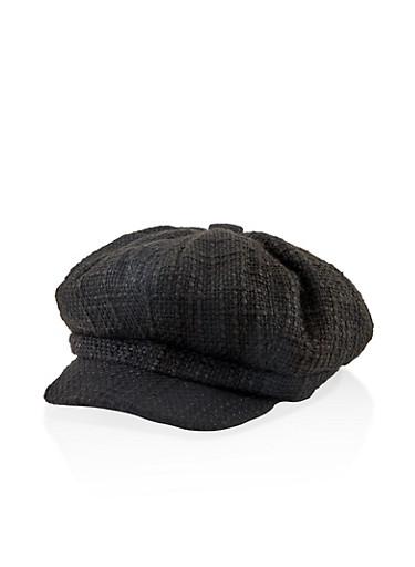 Solid Newsboy Cap,BLACK,large