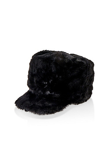 Faux Fur Cabbie Hat,BLACK,large