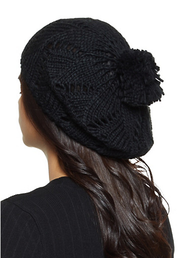 Knit Pom Pom Beret,BLACK,large
