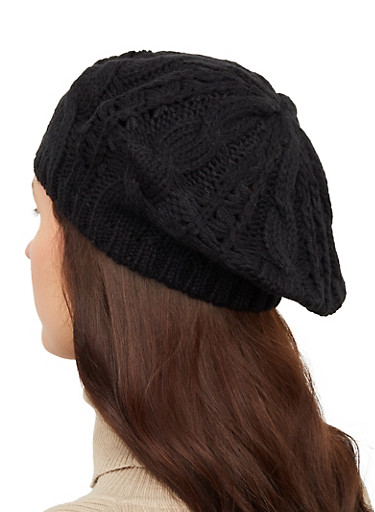 Cable Knit Beret,BLACK,large