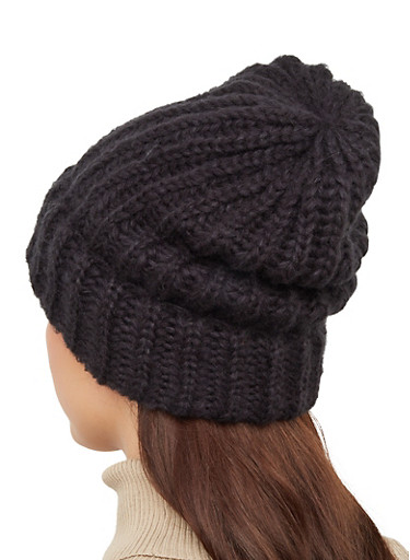 Slouchy Knit Beanie,BLACK,large