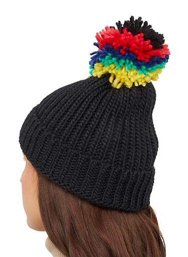 Knit Pom Pom Beanie,BLACK,large