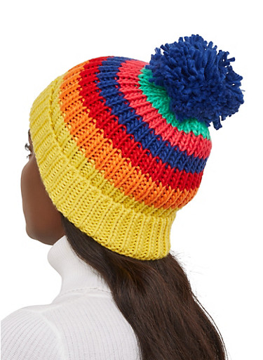 Rainbow Striped Knit Beanie,MULTI COLOR,large