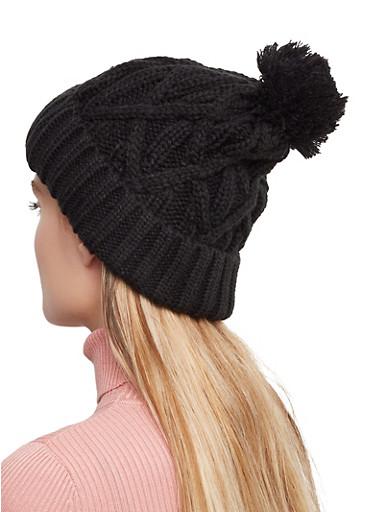 Cable Knit Pom Pom Beanie,BLACK,large