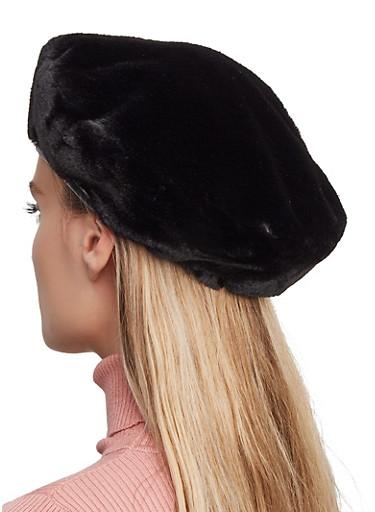 Faux Fur Beret,BLACK,large