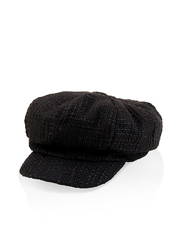 Knit Newsboy Hat,BLACK,large