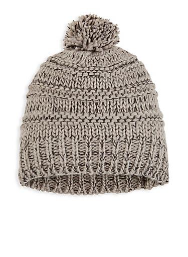 Marbled Knit Pom Pom Beanie,GRAY,large