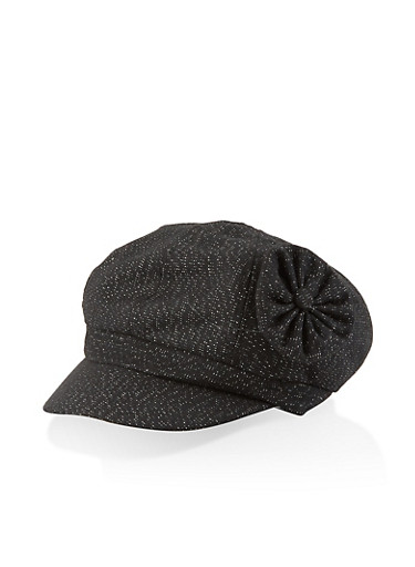 Lurex Flower Detail Newsboy Cap,BLACK,large