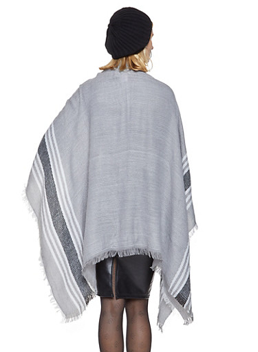 Striped Scarf and Beanie Set,BLACK,large