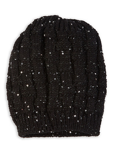 Sequin Knit Beanie,BLACK,large