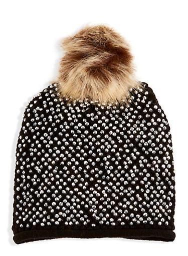 Studded Faux Fur Pom Pom Beanie,BLACK,large