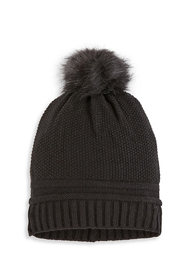 Pom Pom Knit Beanie,BLACK,large