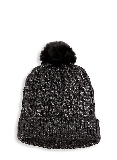 Cable Knit Pom Pom Beanie,BLACK,large