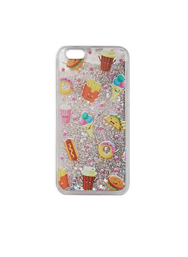 Snack Print Glitter iPhone 6 Case,SILVER,large