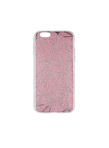 Geometric Pattern Glitter iPhone 6 Case,PINK,large