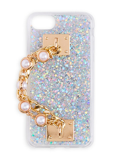 Chain Faux Pearl Glitter iPhone Case,SILVER,large