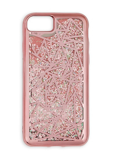 Geometric Glitter iPhone Case,ROSE,large