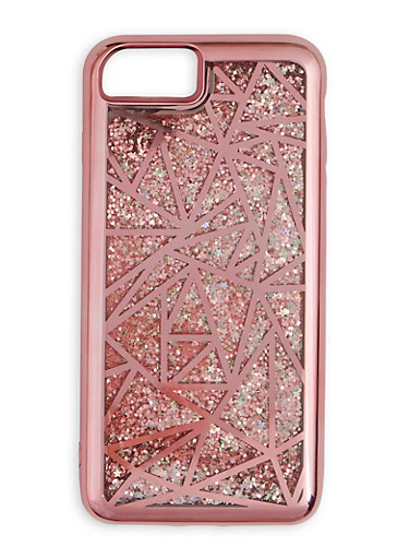 Metallic Geometric Waterfall iPhone Case,ROSE,large