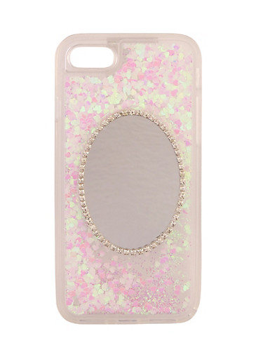 Heart Waterfall Mirror Phone Case,CLEAR,large