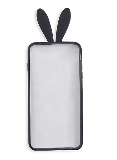 Bunny Ear Plastic iPhone Case,BLACK,large
