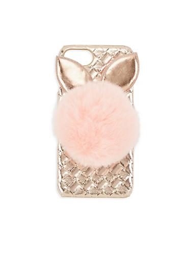 Bunny Pom Pom iPhone Case,ROSE,large