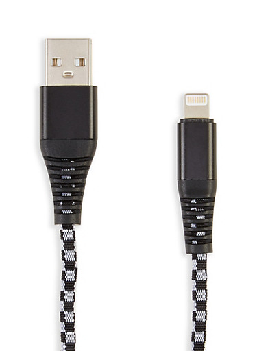 Checkered 6 Ft USB Charging Cable,BLACK/WHITE,large